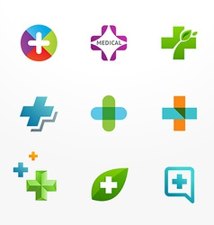 Set medical logo icons with cross and plus vector