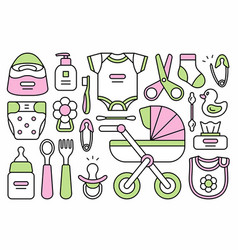 set of baby things vector image