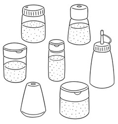 set of condiment bottle vector image