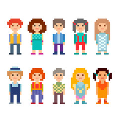 Set of different 8-bit characters vector