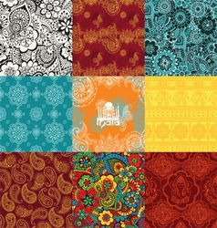 Set patterns with indian ornaments vector