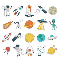 set space objects spaceship rockets planets vector image