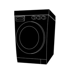 silhouette cartoon washing machine design vector image