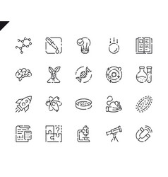 simple set science line icons for website vector image