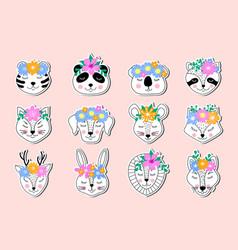 Stickers hand drawn animals vector