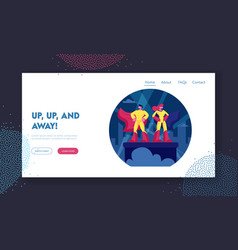 superhero couple website landing page man and vector image