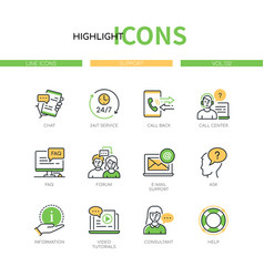 Support - modern line design style icons set vector