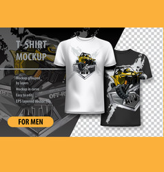 T-shirt template fully editable with yellow atv vector