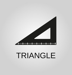 triangle ruler icon triangle ruler symbol flat vector image
