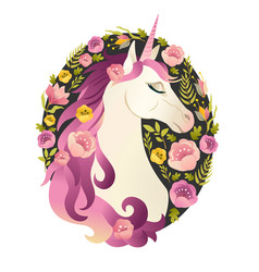 Unicorn head in wreath of flowers watercolor vector
