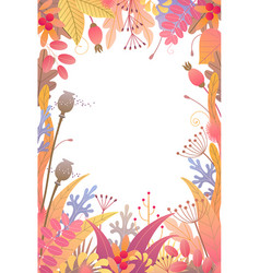 Vertical floral frame with autumn plants vector