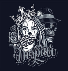 vintage chicano style tattoo template vector image
