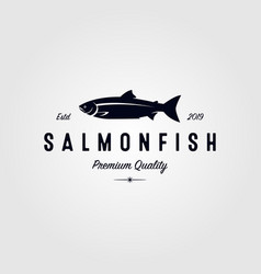 vintage salmon fish logo seafood label badge vector image