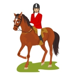 young handsome man ridding a horse vector image