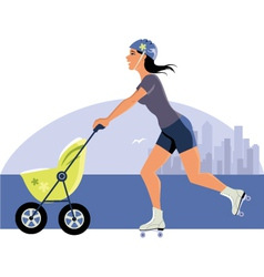 Young mother roller skating with a stroller vector image
