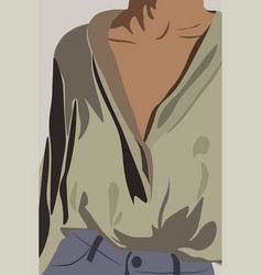 Young tanned woman dressed in olive shirt and vector