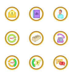 call service icons set cartoon style vector image vector image