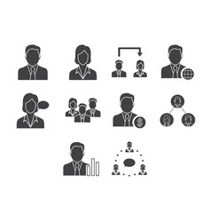 flat black business people icon set vector image vector image