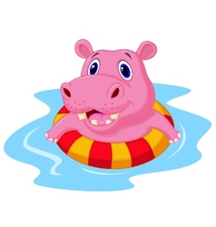 Hippo cartoon floating on an inflatable circle in vector image vector image
