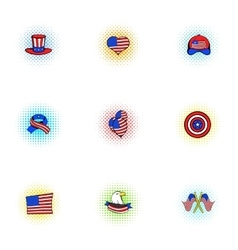 Independence day of USA icons set pop-art style vector image vector image