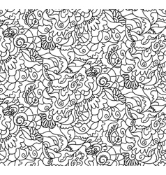 Nature seamless pattern Zen-tagle style vector image vector image