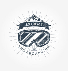 ski goggles and mountains - ski resort emblem vector image vector image
