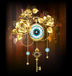 Clock with gold roses vector