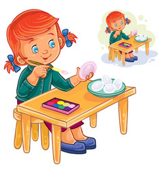 little girl coloring easter eggs with vector image