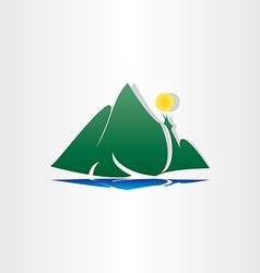 mountain lake sun symbol vector image