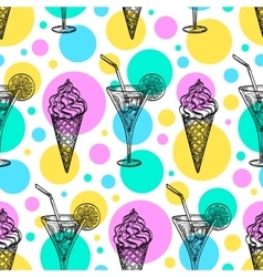 Seamless pattern with ice cream and tankard vector image vector image