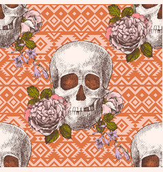 seamless pattern with skulls and flowers vector image