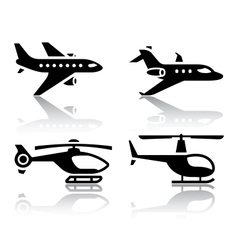 set of transport icons - airbus and helicopter vector image
