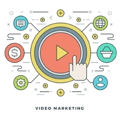 Flat line Business Concept Video Marketing vector image