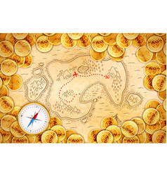 pirate golden coins on old ancient textured map vector image
