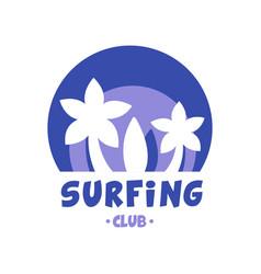 surfing club logo surf retro badge in blue color vector image