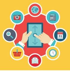 Tablet PC with Hands and Icons - Flat Style vector image vector image