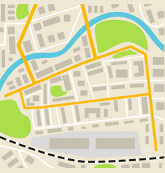 abstract city map with roads houses parks and a vector image vector image