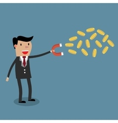 businessman with magnet and Gold coinor vector image vector image