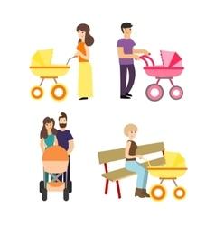 Cartoon Cute Stroller Parents Set vector image