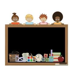 kids holding blackboard vector image vector image