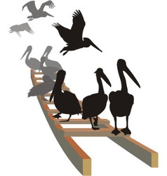 Pelicans on the ladder vector image vector image