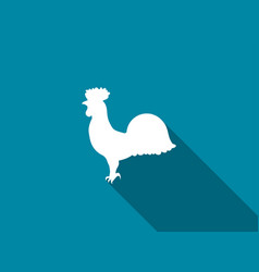 rooster icon with a long shadow vector image vector image