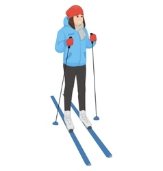 The young animation girl costs on skis winter vector