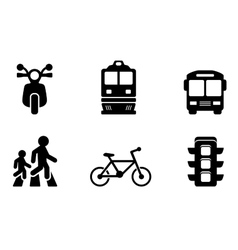 transport icons collections vector image vector image