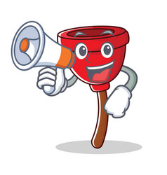 with megaphone plunger character cartoon style vector image
