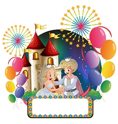 A prince and a princess in front a castle vector