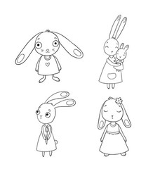 A set of cute cartoon bunny girls beautiful vector