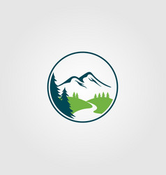 adventure pine tree creek nature river logo design vector image