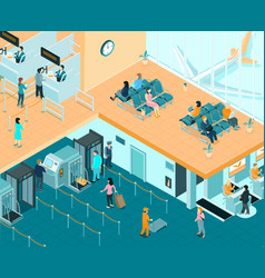 airport indoor isometric vector image