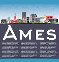 Ames iowa skyline with color buildings blue sky vector
